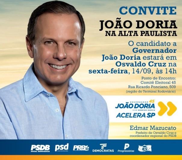 Candidato a governador João Dória visita Osvaldo Cruz